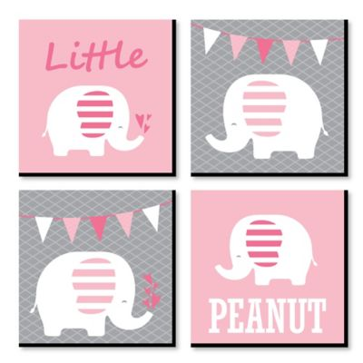 "Pink Baby Elephant - Nursery Decor - 11"" x 11"" Nursery Wall Art - Set of 4 Prints for Baby's Room](Elephant Nursery Decor)"