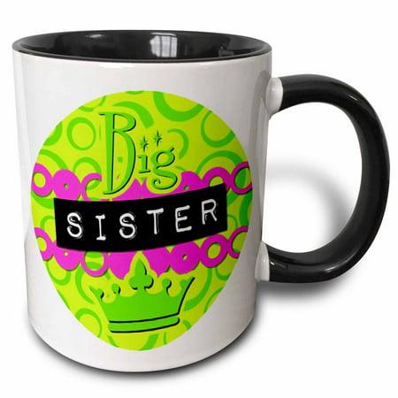 3dRose Big Sister Bright Green And Pink Sibling Family Design - Two Tone Black Mug, 11-ounce