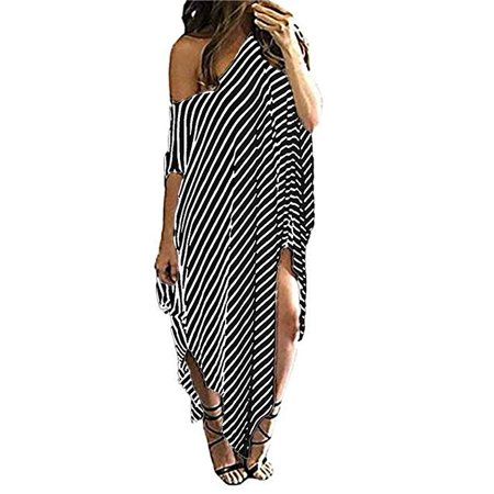 Women Maxi Dress Striped Long Dresses Casual Loose Kaftan Oversized Round Neck Sundress