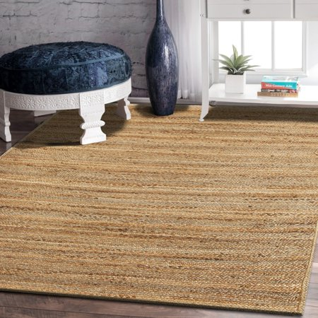 8' Natural Hibiscus Island Decor - LR Home Natural Jute Reversible Indoor Area Rug (5' x 8')