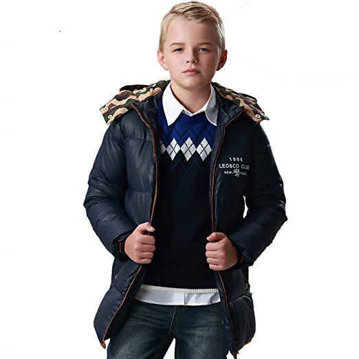 0a46b6b48f30 Leo Lily Big Boys winter Long Down Padded Puffer Jacket with Hood -  Walmart.com