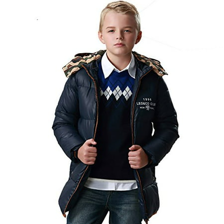 Hooded Long Puffer Coat (Leo&Lily Big Boys winter Long Down Padded Puffer Jacket with)
