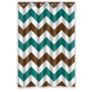MOHome Brown And Cyan Zigzag Chevron Pattern Design Shower Curtain Waterproof Polyester Fabric Shower Curtain Size 48x72 inches