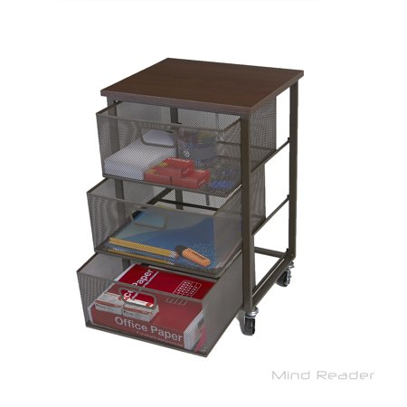 Mind Reader Rolling Storage Cart With 3 Drawers File Utility
