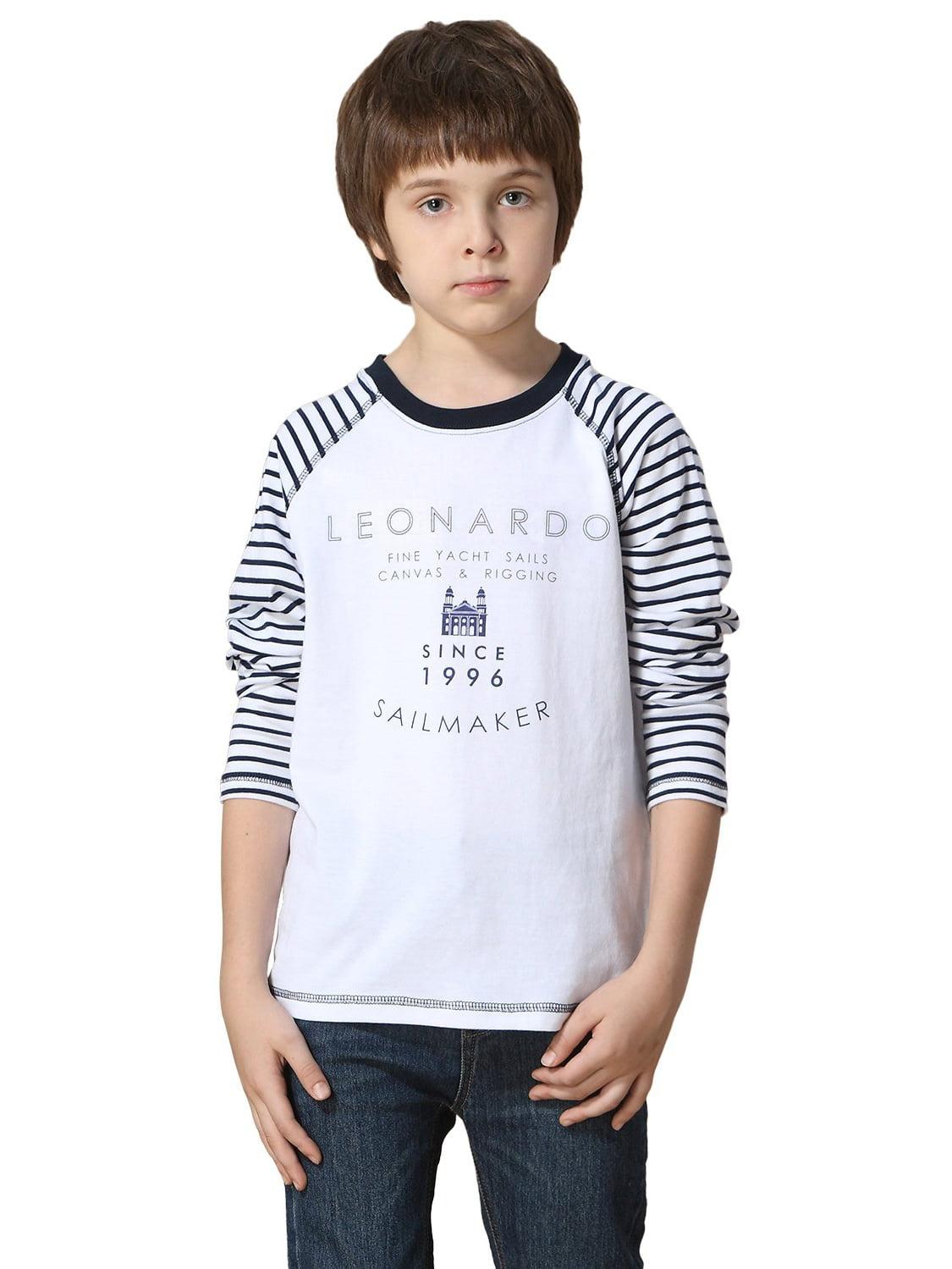 Leo&Lily Boys' Long Sleeves Crew-Neck Reglan Pullover T-Shirt Navy Stripe