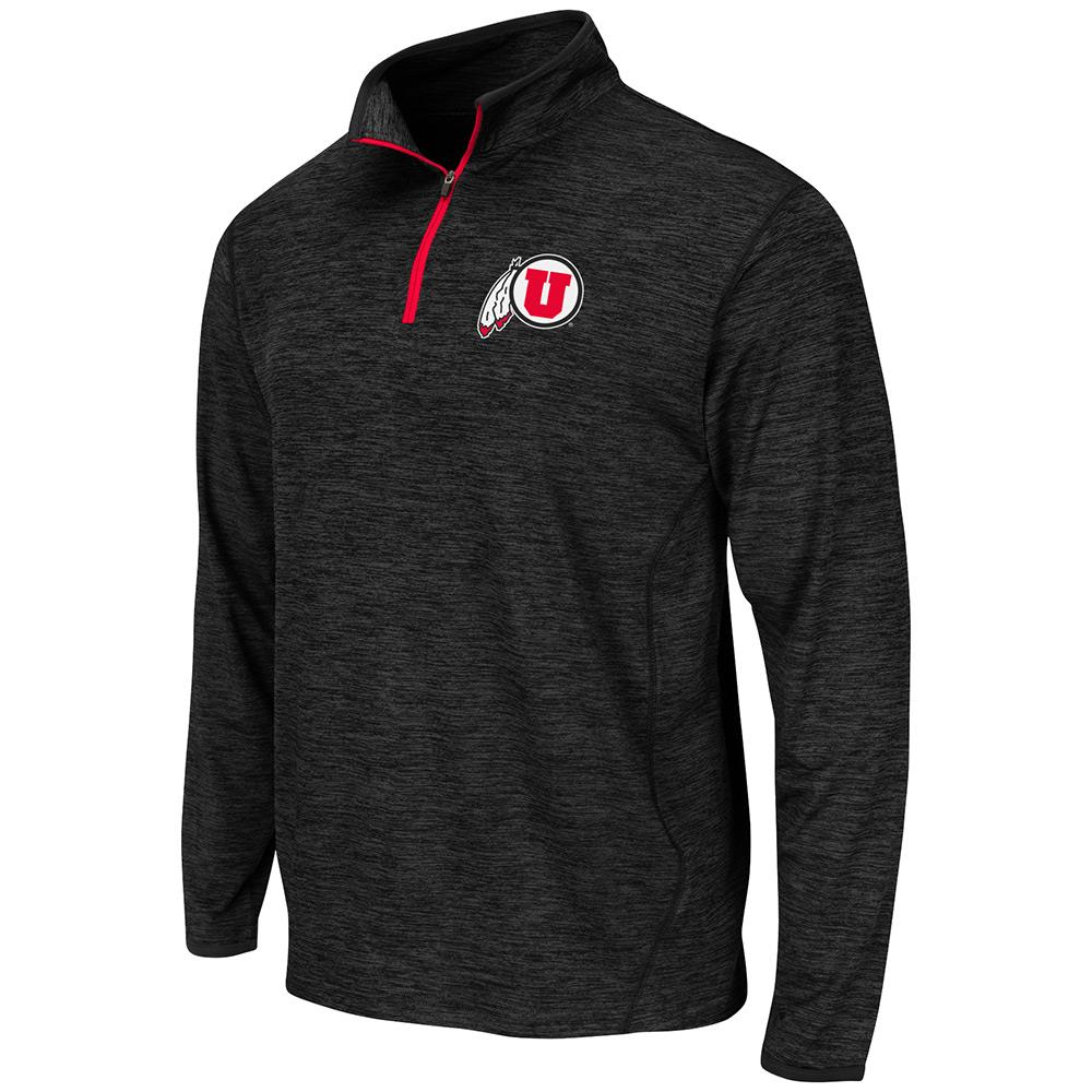 Mens NCAA Utah Utes Action Pass Long Sleeve Quarter Zip Tee Shirt