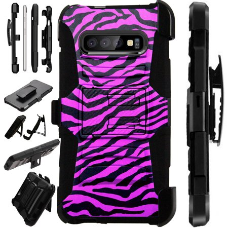Compatible Samsung Galaxy S10 Plus S 10 Plus (2019) Case Armor Hybrid Phone Cover LuxGuard Holster (Hot Pink Zebra
