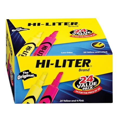 Avery Dennison Hi Liter Fluorescent - Avery Desk Style Hi-Liter Chisel Tip Fluorescent Yellow/Pink 24ct AVE 98189