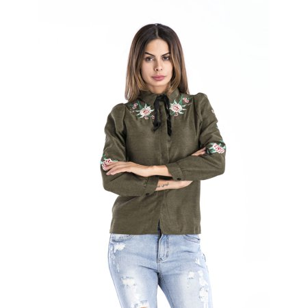 Clothes for Women on Clearance, Long Sleeve Blouses Tops for Women, Dressy Embroidered T-Shirt for Women, Green / Khaki Lapel Elegant Sexy Jacket for Spring /Fall, S-L - Dressy Toms