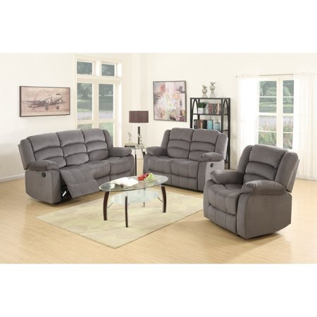 Global Furniture 9824 Contemporary Gray Microfiber Sofa Set 3 Pcs