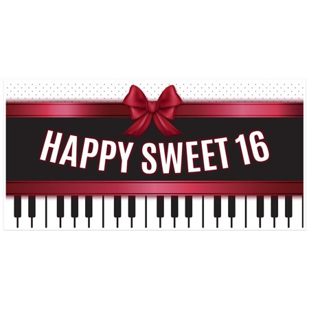 Piano Sweet 16 Sixteen Birthday Banner for $<!---->