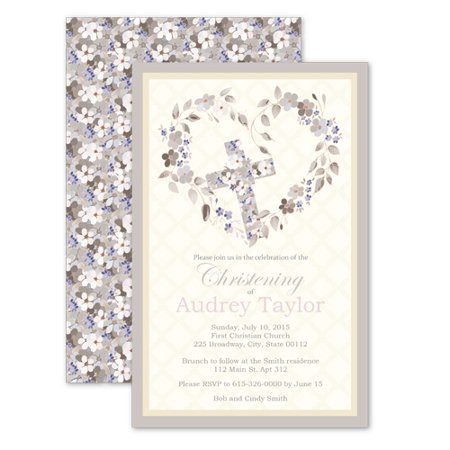 Personalized Floral Heart Christening Invitations