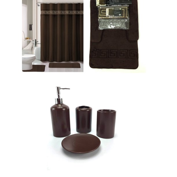 Bath Accessory Set Coffee Brown Soft