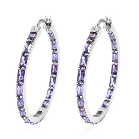 Hoops Hoop Earrings Baguette Purple Cubic Zirconia CZ Jewelry for Women Ct 9.7