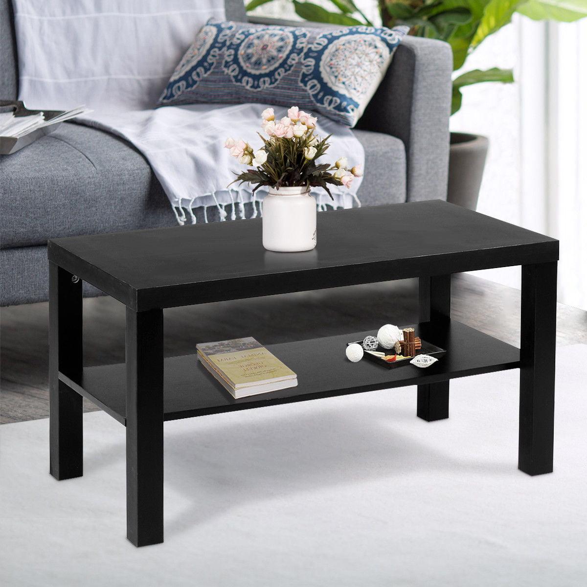 Costway coffee end table rectangle modern living room furniture w storage shelf black walmart com