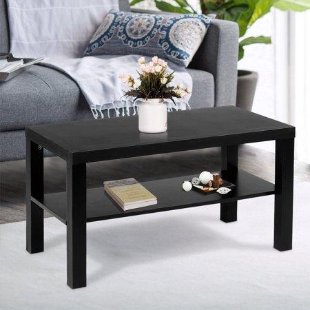costway coffee end table rectangle modern living room furniture w storage shelf black. Black Bedroom Furniture Sets. Home Design Ideas