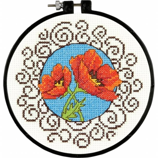 Learn-A-Craft Poppies Counted Cross Stitch Kit-6'' Round 14 Count