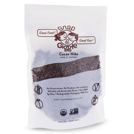 Snap and Giggle Raw Organic Cacao Nibs, Sugar Free Chocolate Chips, Excellent for Keto, Paleo, and Vegan Snacks, Natural Flavor, High in Fiber, Magnesium, and Iron, 226 Grams