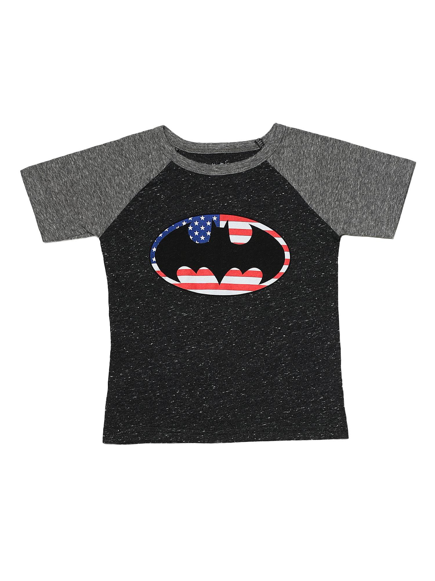 Toddler Boys Batman Logo Raglan Shirt Gray USA Flag