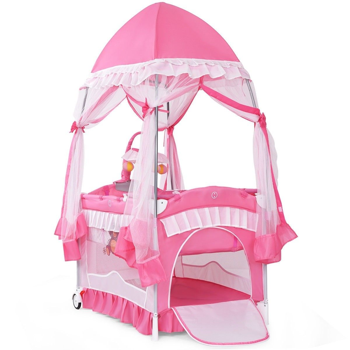 """GHP 43""""x31""""x30"""" Pink & White Iron Pipe Oxford & PP Baby Playpen Crib with Bassinet by Globe House Products"""