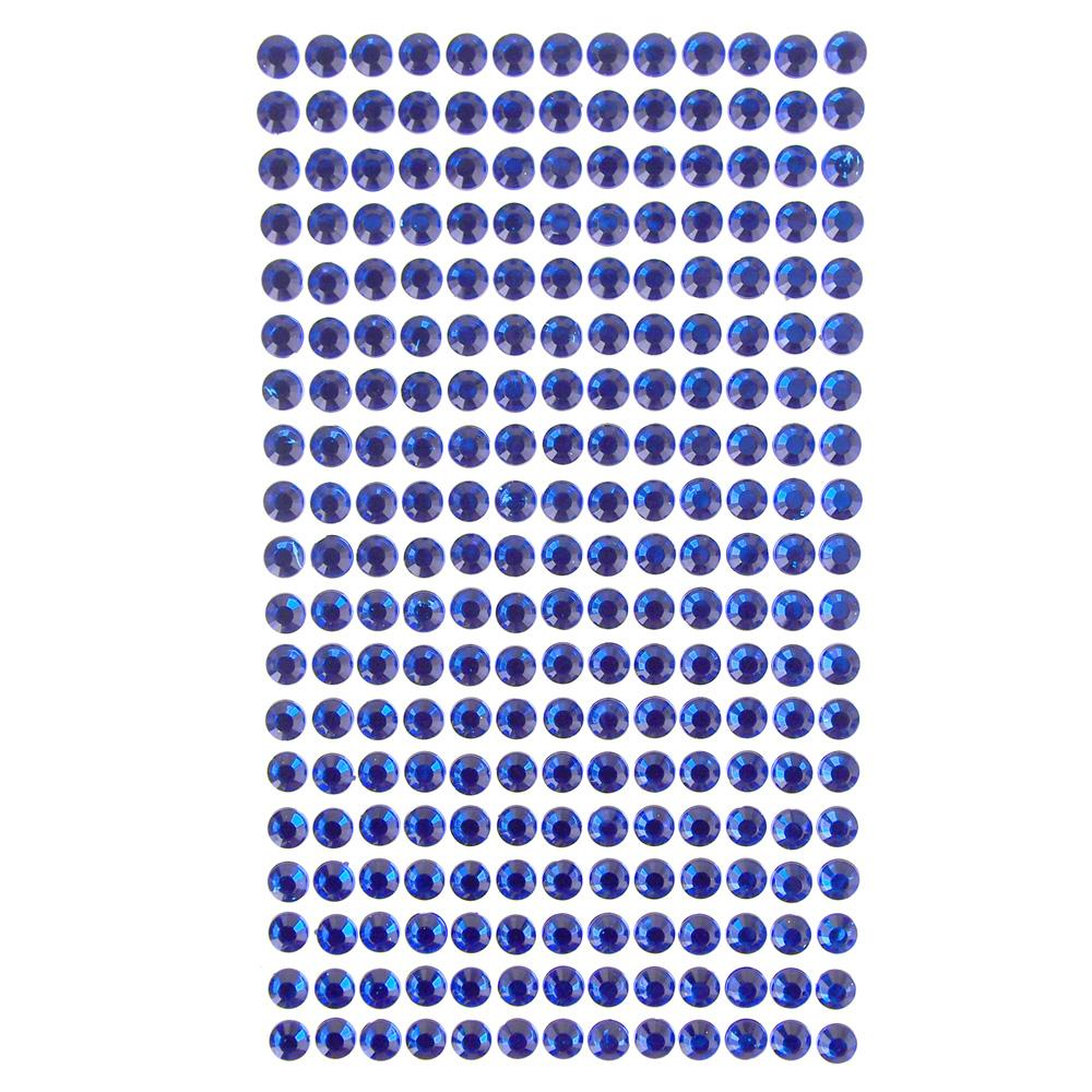 Round Adhesive Diamond Gem Stickers, Sapphire, 6mm