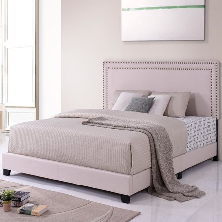 - Top Knobs Milan Upholstered Platform Bed with Wooden Slats and Nailhead Detail, Full