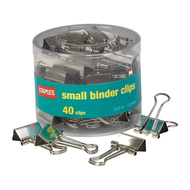 "Staples Small Satin Silver Metal Binder Clips 3/4"" Size"
