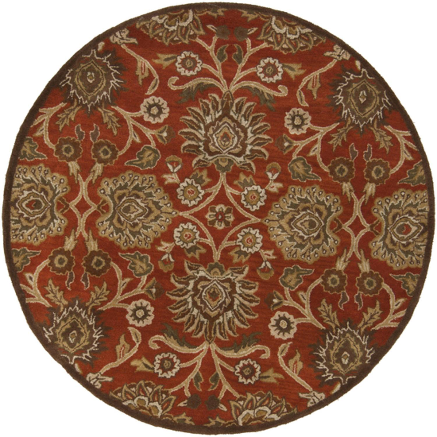 4' Octavia Biscotti Brown and Caper Green Hand Tufted Wool Round Area Throw Rug