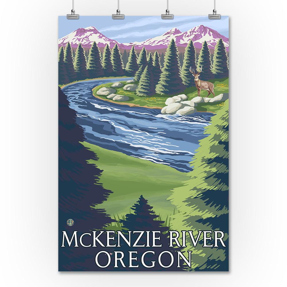 McKenzie River, Oregon - Buck & River - Lantern Press Art...