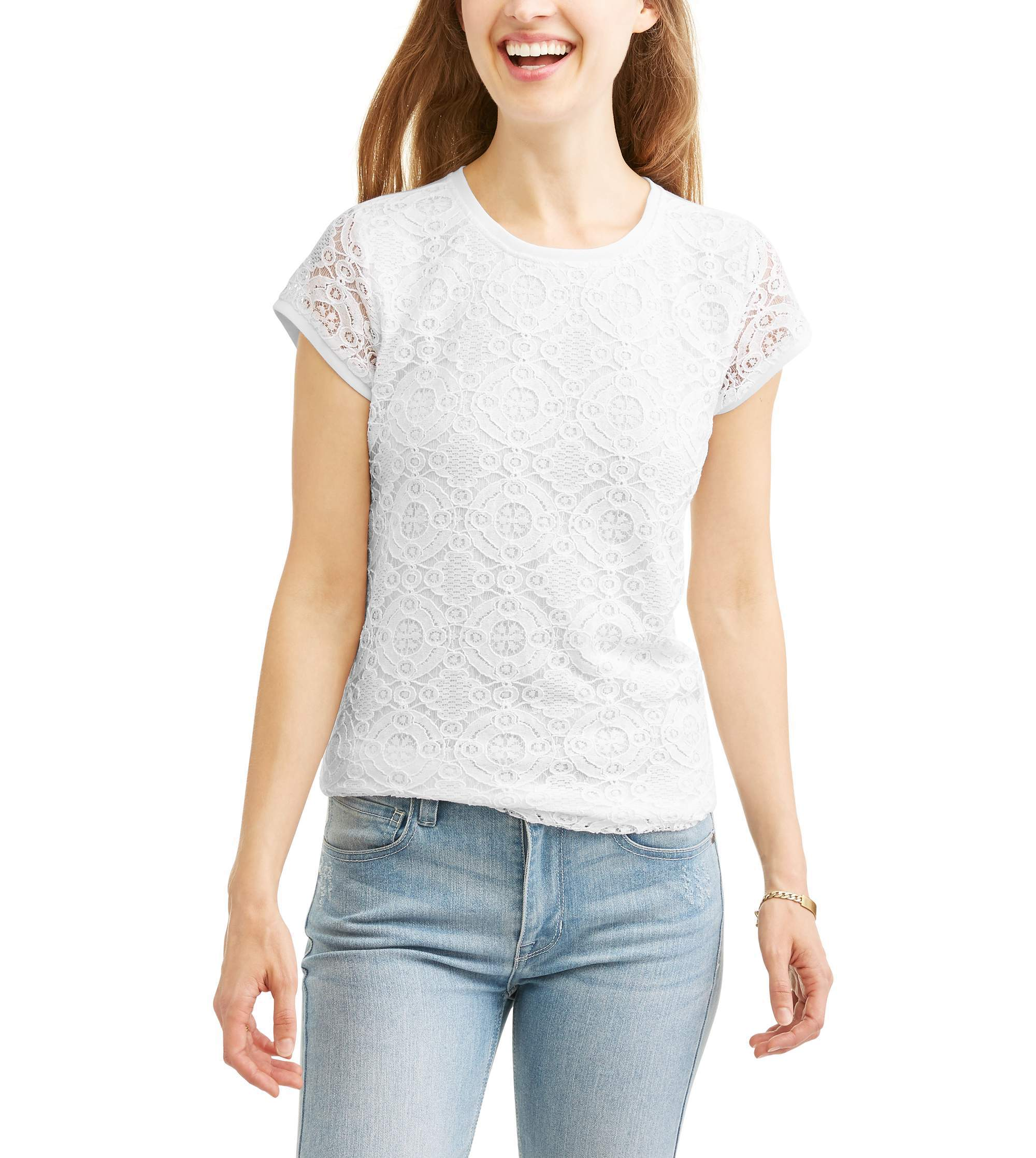 Image of Ace + Ally Women's Classic Short Sleeve Lace Front T-Shirt