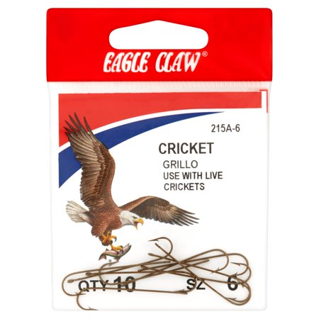 Eagle Claw Cricket Fish Hook Sz 6, 10 count (Ten Sports Live Cricket Match Today 2014)