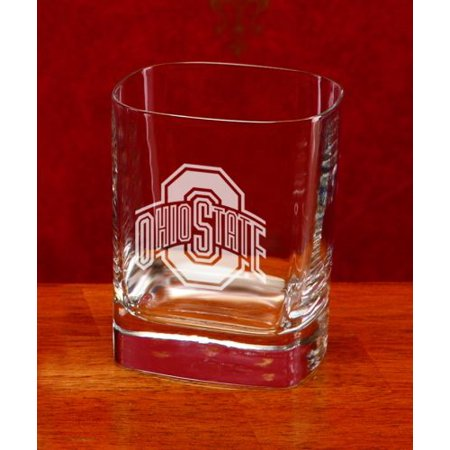 Ohio State Buckeyes Stained Glass - Ohio State Buckeyes Deep Etched Square Double Old Fashion Glass