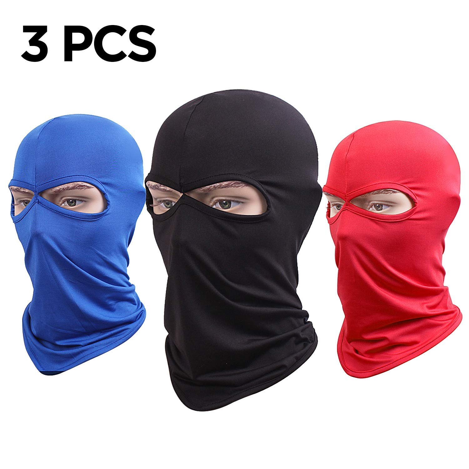 Balaclava Ski Face Mask Winter Warm Full Face Cover, (3 Pack)Ultimate Windproof Paneling with Lycra Fabrics for Cold Skiing Hiking Motorcycle Snowboard Cycling for Men & Women & Children,3 Colors