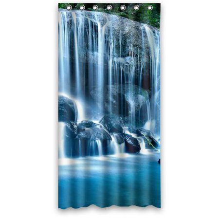 GreenDecor Waterfall Waterproof Shower Curtain Set with Hooks Bathroom Accessories Size 36x72 inches (Waterfall Shower Curtain)