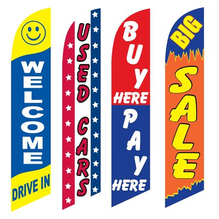 4 Advertising Swooper Flags Welcome Drive In Used Cars Buy Pay Here Big Sale