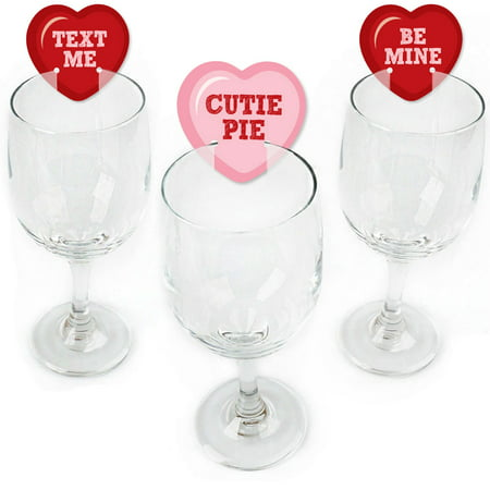 Conversation Hearts - Shaped Valentine's Day Wine Glass Markers - Set of 24 - Valentine Wine Glasses