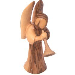 """Angel blowing the horn or Trumpet (two pieces) - olivewood (16cm or 6.4"""")"""