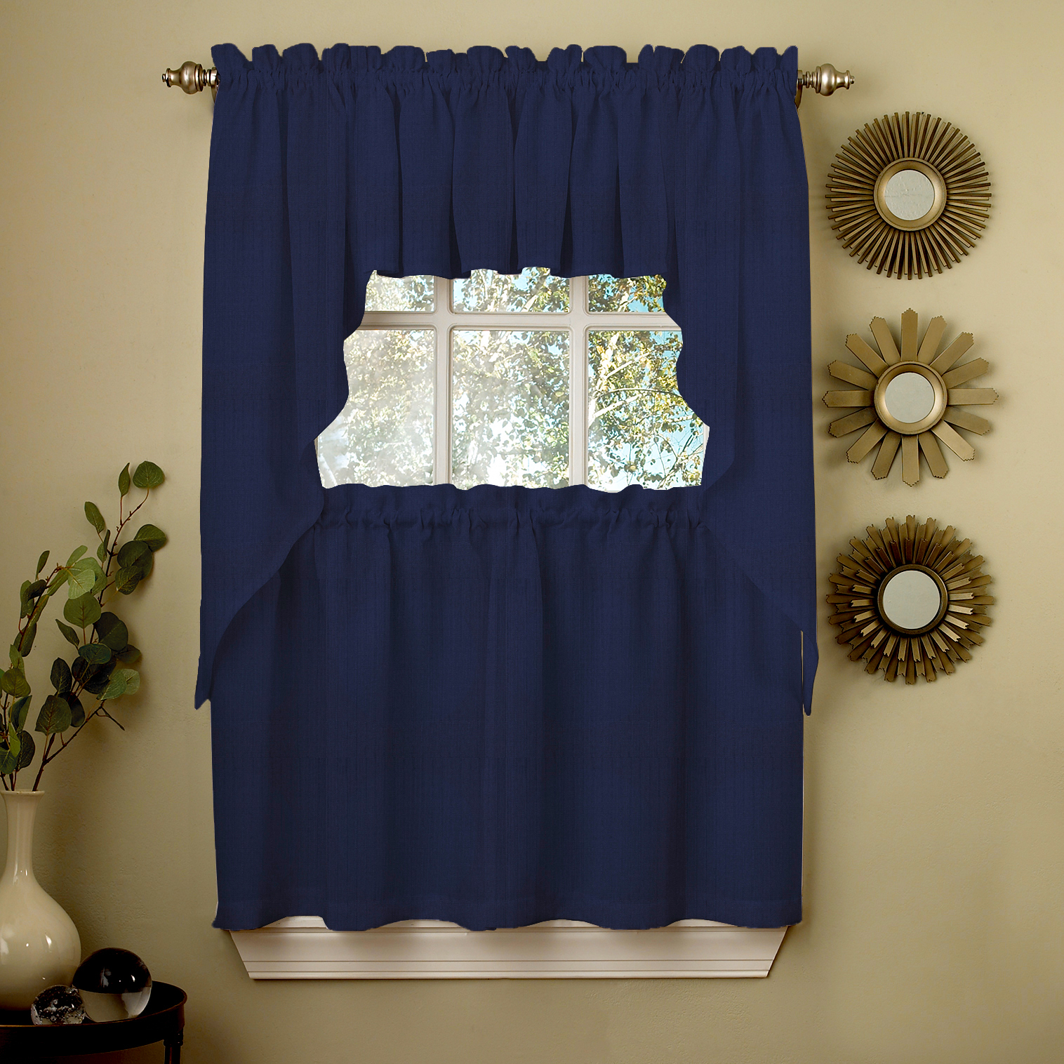 Navy Solid Opaque Ribcord Kitchen Curtains Choice Of Tiers Valance