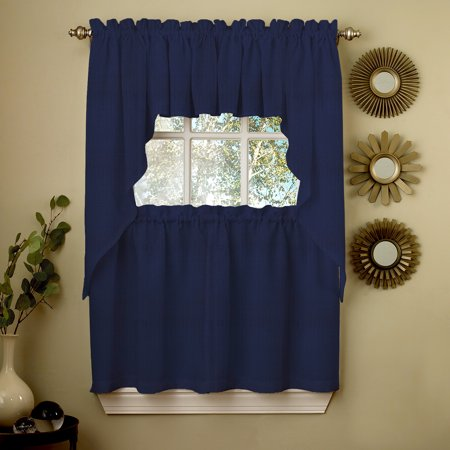 Navy Solid Opaque Ribcord Kitchen Curtains Choice of Tiers Valance or Swag