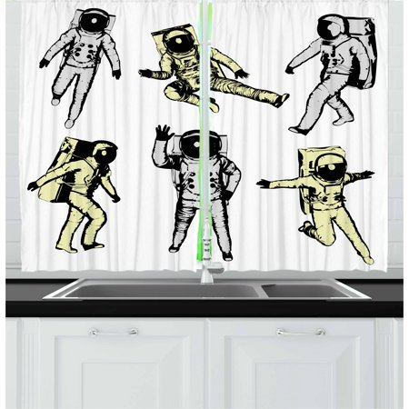 Astronaut Curtains 2 Panels Set, Astronauts with Various Movements Kicking Jumping Walking Space Science Fun, Window Drapes for Living Room Bedroom, 55W X 39L Inches, Black White, by Ambesonne