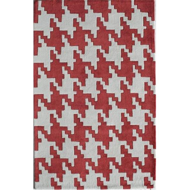 Jourdan Houndstooth Red Rectangle Geometric Rug 8 X 10 Ft