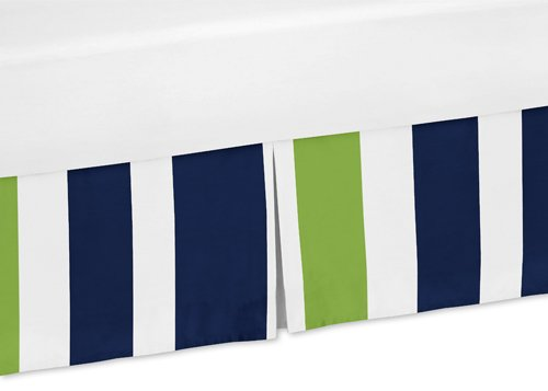 Sweet Jojo Designs Navy Blue and Lime Green Crib Bedskirt Dust Ruffle for Stripe Collection Bedding Sets by Sweet Jojo Designs