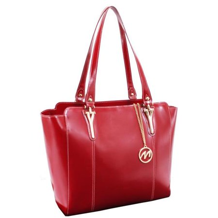 McKlein ALICIA, Ladies Tote with Tablet Pocket, Top Grain Cowhide Leather, Red (97516)