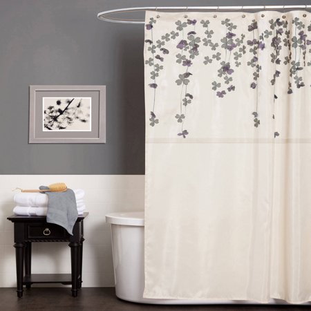 Flower Drops Ivory Purple Shower Curtain