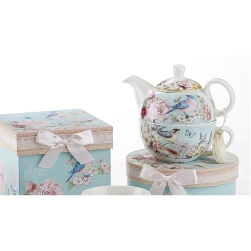 Porcelain Tea for One with Decorative Gifts Box, Blue Bird