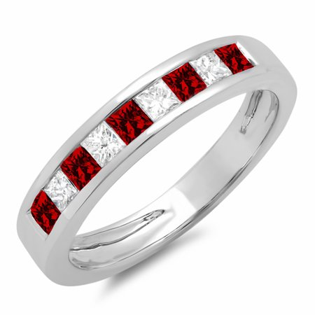 10K Gold Princess Cut Garnet & White Diamond Ladies Anniversary Wedding Band Stackable Ring