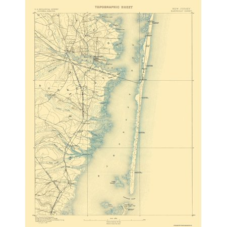 Old Topographical Map Print - Barnegat New Jersey Sheet - USGS 1884 - 17 x (Usgs Maps)