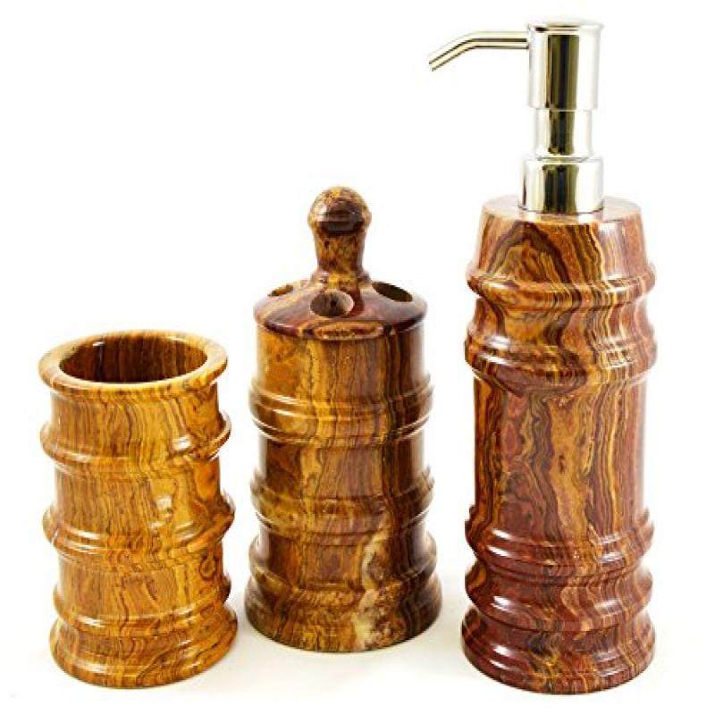 Nature Home Decor 500ML3 Multi Onyx 3-Piece Bathroom Accessory Set of Bengal Collection