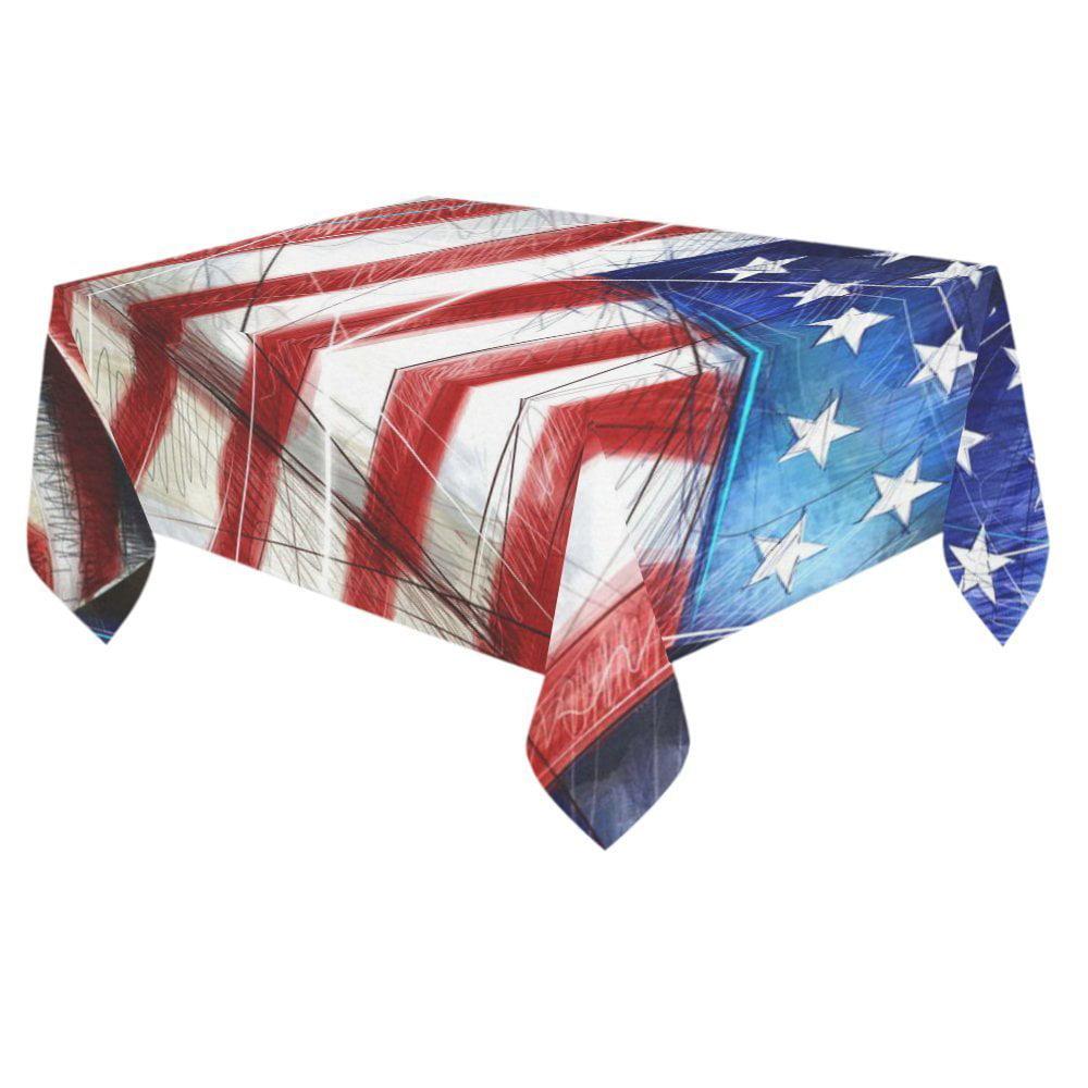 Mypop Vintage American Flag Cotton Linen Tablecloth 60x84
