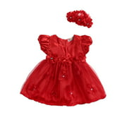 Kuriozud Princess Wedding Party Prom Birthday Skirt Tutu Dresses For Baby Girl 0-3Y